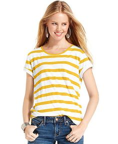 American Rag Top, Short Sleeve Striped Tee - Juniors Tops - Macy's