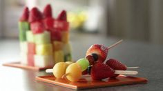 Have fun making delicious fruit masterpieces with your kids!/ greek yogurt mixed with honey for dipping
