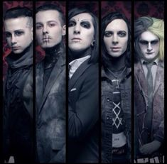 "Motionless In White (left to right) Josh Balz, Ryan Sitkowski, Chris Motionless, Ricky Horror, Devin ""Ghost"" Sola"