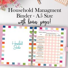 Home Management Binder, Home Organization Binder A5 Household Binder Printables Household Printable Planner A5 FREE Cover and Bonus Pages