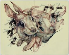 "marco mazzoni ""You Can't Eat What You Want""2013, colored pencils and ink on moleskine paper, cm 21x26"