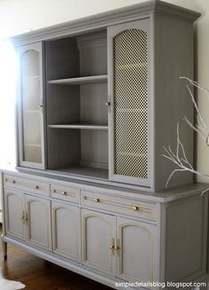 This is an amazing DIY paint transformation. She used Chalk Paint in French Linen, clear wax and then highlighted the hardware with Rub 'n Buff (Gold) and she used aluminum sheets with patterns on the doors. Simply beautiful!