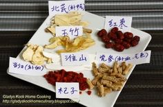 Chinese Herbs Ingredients for Chinese Herbal Black Chicken Soup.