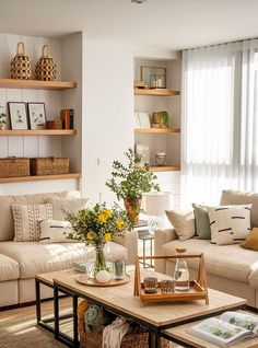 〚 Wood, wicker accessories and delicate colors: warm apartment in Spain 〛 ◾ Photos ◾ Ideas ◾ Design #warm #natural #Livingroom #interiordesign #homedecor #interior #decor #ideas #inspiration #tips #cozy #living #style #space