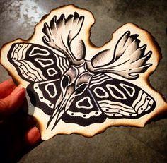 Animal skull butterfly tattoo illustration
