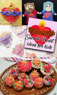 If you are looking for ideas to celebrate the Sacred and Immaculate hearts with kids, this is your place! There are craft ideas, food ideas, and anything else you're looking for to celebrate the Sacred heart of Jesus and the Immaculate heart of Mary. Jesus Crafts, Catholic Crafts, Catholic Kids, Valentines Day Food, Valentines For Kids, Valentine Crafts, Catholic Icing, Catholic Feast Days, Paper Bag Puppets