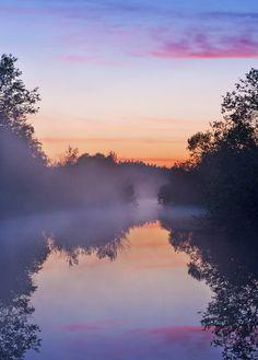 'Fog Rises' River Sunset - Finland