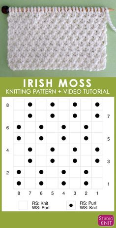 Irish Moss Knit Stitch Pattern Chart with Video Tutorial from Studio Knit ., Irish Moss Knit Stitch Pattern Chart with video tutorial by Studio Knit Knitting Stiches, Knitting Charts, Easy Knitting, Knitting For Beginners, Loom Knitting, Knitting Patterns Free, Stitch Patterns, Afghan Patterns, Knit Stitches