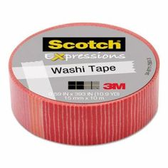"Scotch Expressions Washi Tape, .59"" x 393"", Pink/Red Stripe MMMC314P22"