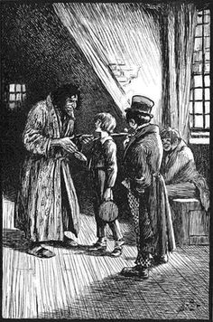 """Fagin, Oliver and the Artful Dodger; a picture from """"Oliver Twist""""."""