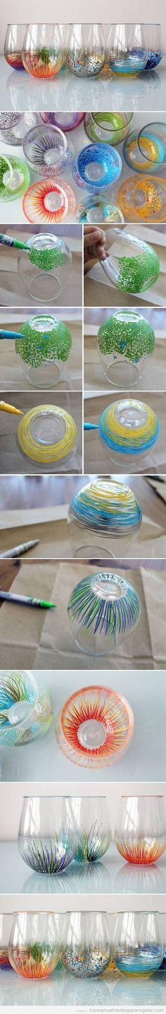 Tutorial decorar vasos con rotuladores de colores