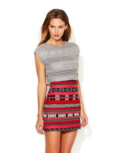 Cable Knit Cropped Sweater and Mini Skirt