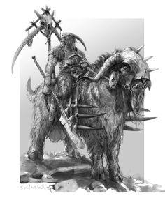 Bruchaath and big goat! , Stefan Kopinski on ArtStation at https://www.artstation.com/artwork/RDkWA