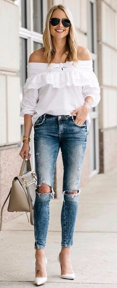 how to wear a classy blouse with rips