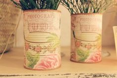 Latas comunes y corrientes de tantas conservas, pintadas o ponièndolas lindas con decoupage, con lindos papeles o servilletas