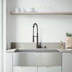 Convenience and style come together in this beautiful all-in-one farmhouse kitchen sink set from VIGO. The VIGO Chisholm Stainless Steel Double Bowl Farmhouse Kitchen Sink features a spacious dual bowl Stainless Steel Farmhouse Sink, Stainless Steel Faucets, Farmhouse Sink Kitchen, New Kitchen, Kitchen Ideas, White Farmhouse, Kitchen Designs, Modern Kitchen Sinks, Southern Farmhouse