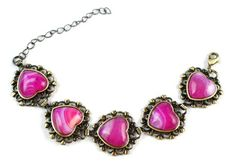 "Fuschia Pink Striped Agate Hearts Ornate Victorian Style Antique Copper Bronze Bracelet 6"" to 8 3/8"" Shoushockie http://www.amazon.com/dp/B00JURJLH2/ref=cm_sw_r_pi_dp_qPakvb1SGAY1P"