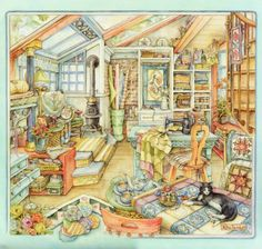 The world of comfort and good, created by artist Kim Jacobs. Discussion on LiveInternet - Russian Service Online diary Free Cross Stitch Charts, Dmc Cross Stitch, Cross Stitch Books, Cross Stitch Letters, Fantasy Cross Stitch, Quilting Room, Gif Animé, Country Art, Cat Art