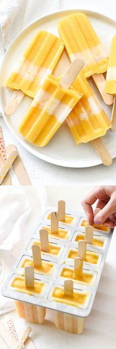 Mango Pops - Almond milk and vanilla Greek yogurt make these mango pops ultimately creamy Ice Cream Desserts, Frozen Desserts, Ice Cream Recipes, Frozen Treats, Mango Popsicles, Homemade Popsicles, Creamy Popsicles Recipe, Almond Milk Popsicles, Homemade Caramels