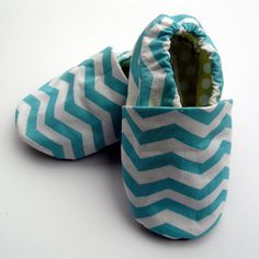 Chevron Baby Shoes  6  -12 months Organic Baby Blue Stripe Shoes in Turquoise and White with Lime Green Dotty Linings Handmade Baby Shoes. $24.00, via Etsy.