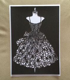Décoration murale moderne robe à encadrer : Autres papeterie par sylvie-kirigami-cartes