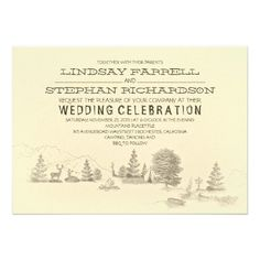 "Campground Illustration Camping Wedding Invitation  * I like the phrase ""wedding celebration"""