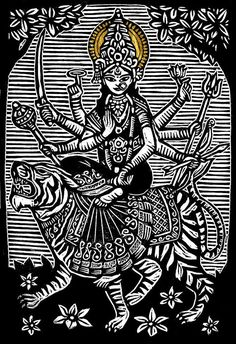 Brian Reedy ~ Durga 2 ~ Woodblock Print, 12 x 18 inch, printed on 20 x 26 inch rice paper with deckle edge and gold leaf