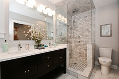 Contemporary Master Bathroom with Handheld showerhead, Master bathroom, Flat panel cabinets, Flush, Limestone counters
