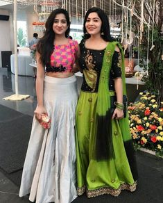 Image may contain: 2 people, people standing Half Saree Designs, Choli Designs, Lehenga Designs, Saree Blouse Designs, Half Saree Lehenga, Lehnga Dress, Lehenga Blouse, Sarees, Indian Gowns Dresses