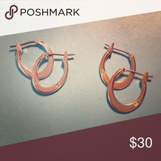 Matching pairs of silver and gold hoops Note tiny rhinestone accent. Good quality, sturdy. Jewelry Earrings