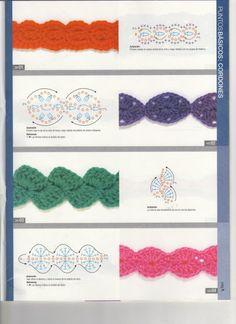 Learn to Crochet – Crochet Wave Fan Edging. How I made this wave fan edging border stitch. Bandeau Crochet, Crochet Flower Headbands, Crochet Headband Pattern, Crochet Flowers, Bracelet Crochet, Crochet Cord, Crochet Mask, Crochet Earrings, Thread Crochet