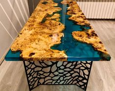 Turquoise river table with epoxy inlay Mappa Burl - Epoxy - Resin Wood Epoxy Table Top, Epoxy Wood Table, Wooden Tables, Resin Furniture, Unique Furniture, Etsy Furniture, Furniture Outlet, Discount Furniture, Wood Table Design