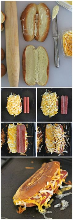Grilled Cheese Hot Dogs Really nice recipes. Every hour. Show me Hot Dog Recipes, Great Recipes, Favorite Recipes, Burger Recipes, Easy Recipes, Grilled Cheese Hot Dog, Grilled Cheeses, Grilled Sausage, Yummy Food