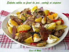 Salata calda cu ficat de pui, cartofi si ciuperci