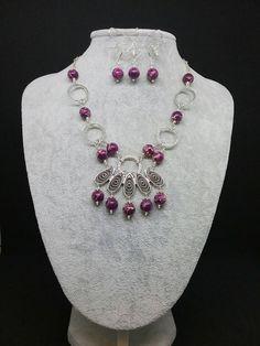 Purple jasper necklace and earring jewellery set, gift for her, valentines, purple necklace, purple drop earrings, purple gemstone set