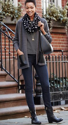#AT3Ways The Skinny Jean. Keep it casual and cozy, mixing prints and textures. Wear a flat boot for running around town in style.