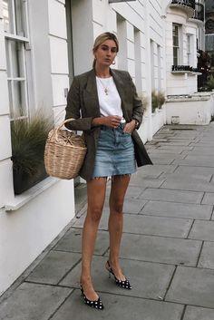 nyc summer outfits blazer t-shirt denim skirt