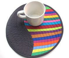 Modern Patchwork Mug Rug or Quilted Wall Hanging - Bright Stripes