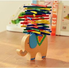 Buy Baby Toys Educational Elephant/Camel Balancing Blocks Wooden Toys Beech Wood Balance Game Montessori Blocks Gift For Child at Wish - Shopping Made Fun Wooden Blocks Toys, Wooden Baby Toys, Wood Toys, Wood Blocks, Toys For Boys, Kids Toys, Toddler Toys, Wooden Elephant, Baby Elephant