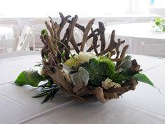 driftwood centerpieces wedding | These arrangements featured succulents, driftwood bowls, dusty miller ...