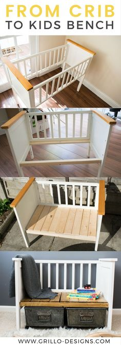 Awesome DIY Furniture Makeover Ideas:Creative Ways To Repurpose Old Furniture With Tutorials Funiture Makeovers: Repurposed Crib Turned Kids Bench. Diy Kids Furniture, Refurbished Furniture, Repurposed Furniture, Furniture Projects, Furniture Makeover, Home Projects, Bedroom Furniture, Furniture Design, Garden Furniture