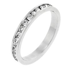 This eye-catching 1 carat total weight eternity band can be worn by itself or paired with an engagement ring for a bold look. Channel set simulated diamonds extend around the entire band to create a simple yet stunning look.  White Metal - Lead Free, Rhodium Finish. Wish it were in yellow gold