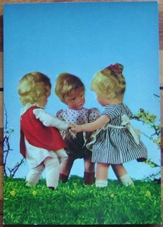 1950s Kathe Kruse 3 Girl Dolls Play Ring Around The Rosie Postcard Käthe   eBay