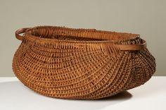 Oblong Basket w/Double Wooden Handle