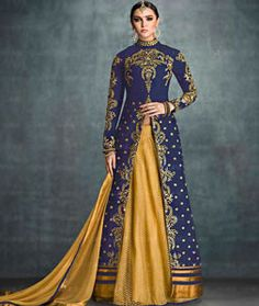 Buy Blue Net Indo Western Lehenga Choli 76188 online at best price from vast collection of Lehenga Choli and Chaniya Choli at Indianclothstore.com.