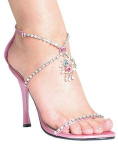 Rhinestone Embelished 4.5 Inch Sandal in Pink also comes in Black & Red