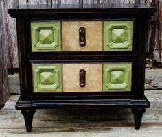 ... Shabby Cottage Solid Wood Black Lacquered 2 Drawer Nightstand Table
