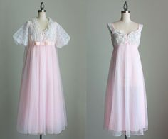 Pink Peignoir Nightgown Set 1960s Vintage Pale PInk And Ivory Sheer Lace Chiffon Slip Dress And Robe