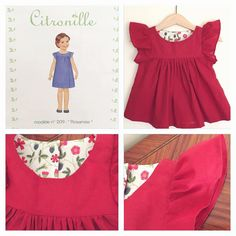 """«I made tunic from Citronille's Rosamée with red thin cotton fabric and Liberty is """"Mirabelle"""" This is size 2ans(2yo)…»"""