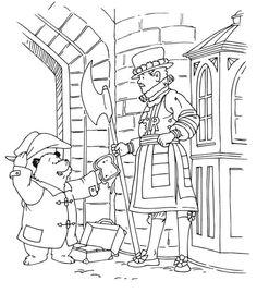 coloriage l ours paddington et le garde de la reine